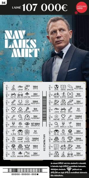 Momentloterijas James Bond nokasītas biļetes paraugs