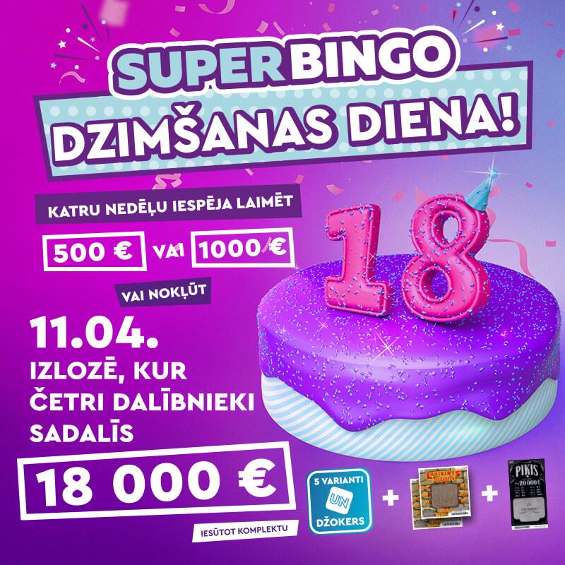 SuperBingo dzimšanas dienas kūka